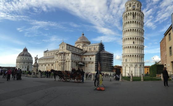 The leaning tower, leaning less in a panoramic shot