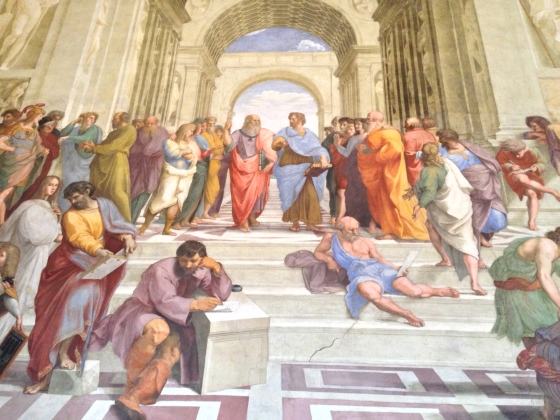 "Seeing the Colosseum, the Vatican, the Sistine Chapel, and (here) Raphael's ""School of Athens"""
