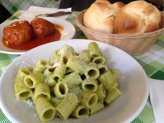 Pesto and meatballs at our favorite restaurant